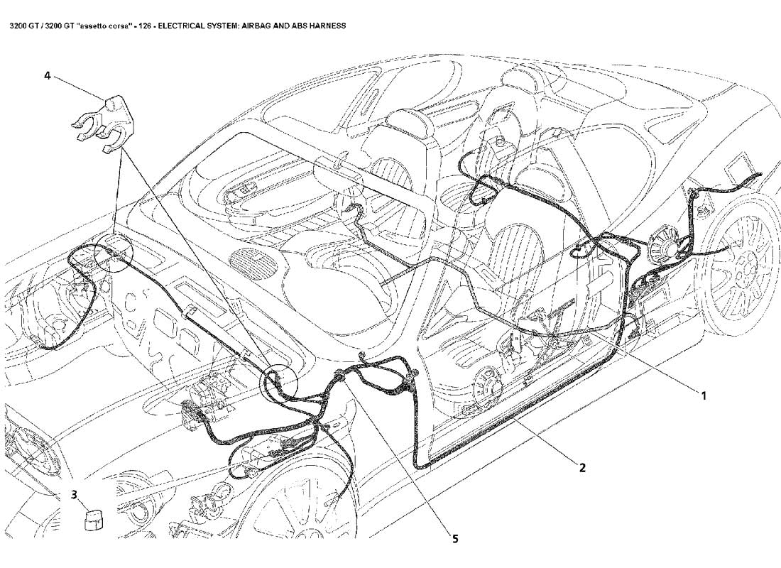 airbag wiring harness diagram electrical airbag   abs harness 126 ferrparts  electrical airbag   abs harness 126