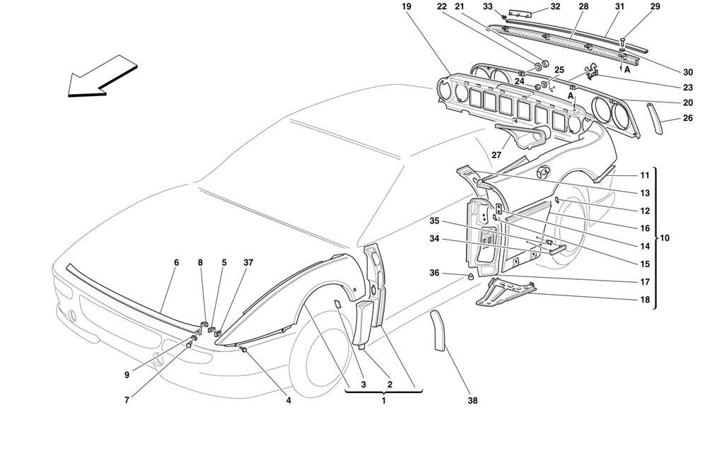 ferrari 348 355 - front header panel ferrari bumper panel  new   n 62059500