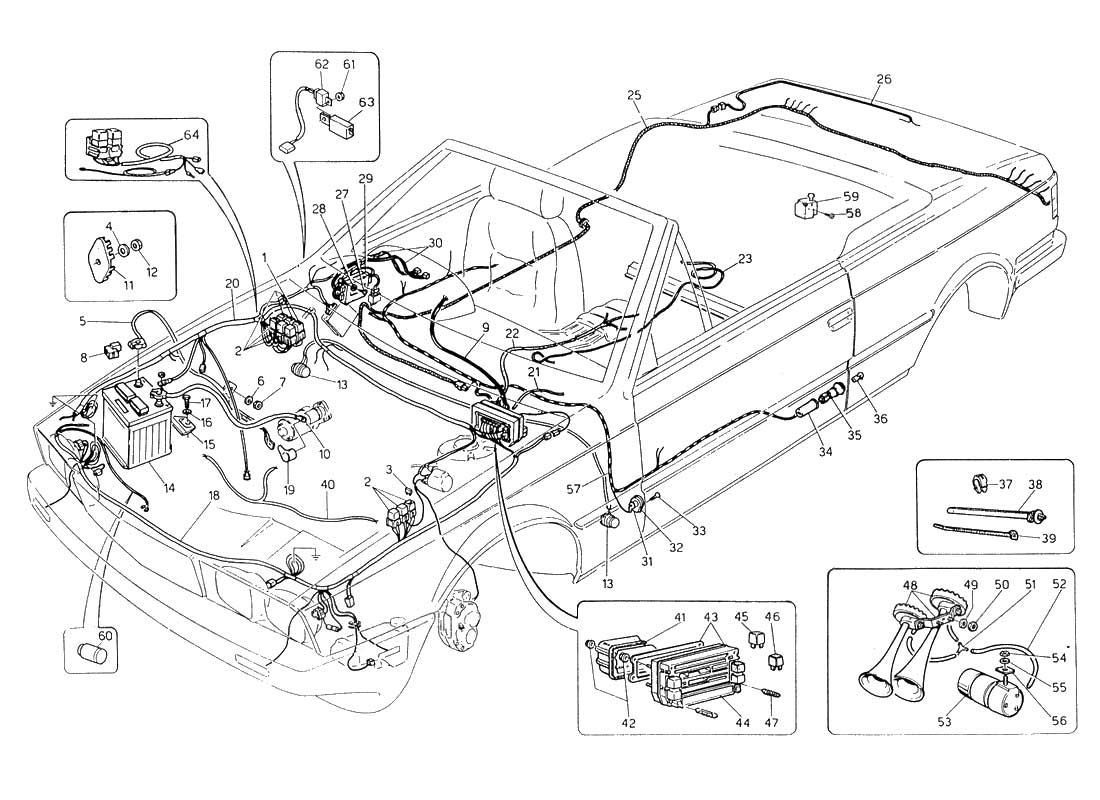 Diagram - Wiring Harness and Electrical Components (L.H. Steering): 059 -  Ferrparts