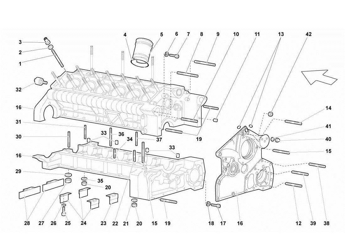 Diagram Crankcase And Lower Mounting 009 Ferrparts 1984 Maserati Biturbo Wiring